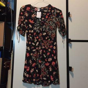 H&M black floral button front dress